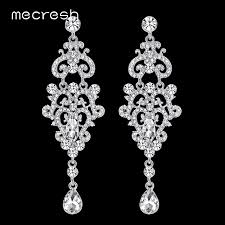 crystal chandelier long earrings silver colour rhinestone