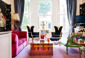 Plaid Curtains For Living Room Wonderful Bohemian Living Room With Twin Wingback Navy Lounge