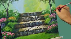 acrylic landscape painting lesson stairway to flower garden by jmlisondra