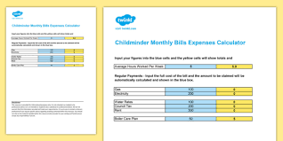Monthly Expenses Calculator Childminder Monthly Bills Expenses Calculator Spreadsheet Child Minder