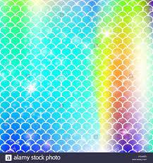 Mermaid Pattern Enchanting Kawaii Mermaid Background With Princess Rainbow Scales Pattern Stock