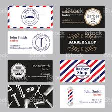 barbershop business cards set of barber shop business card on black and white background