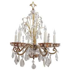 1920 s french bagues style polished brass crystal chandelier for