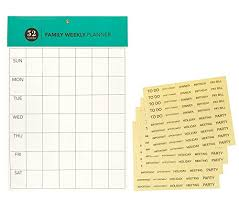 Family Weekly Planner Undated Blank Weekly Calendar Wall Planner
