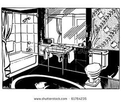 bathroom clipart black and white. Fine Bathroom Royalty Free RF Clip Art Illustration Of A Cartoon Black And Bathroom  Clipart White  With