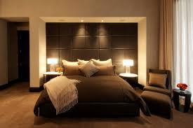 scenic modern small master bedroom ideas with black vinyl wall headboard and balck cover king size platform bedding sheet as well as double shade