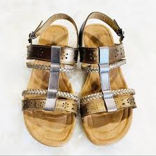 Womens Minnetonka Gold And Silver Leather Sandals