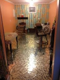 broken mirror floor