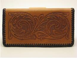 checkbook cover light brown finish brown lacing handtooled leather c0002