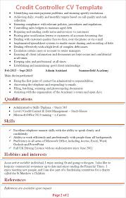 Credit Controller Cv Template Tips And Download Cv Plaza