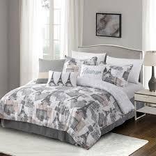 eiffel tower print 7 piece comforter