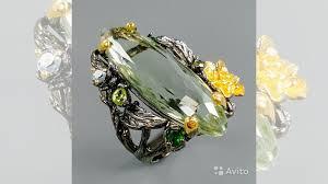 <b>Кольцо</b> из серебра 925 с зеленым <b>аметистом</b> 18,<b>25</b> купить в ...