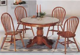 clic oak dining room round table deluxe arrow back chairs