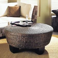 ottoman round modern wood coffee table reclaimed metal mid century round natural diy padded wicker coffee table