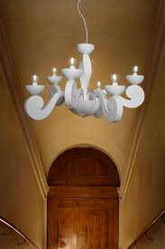 white contemporary chandelier in scrolls botero 10 lights masiero