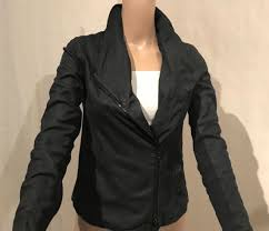 vince coastal scuba paper asymmetric moto leather jacket size s