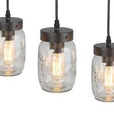 lnc wood pendant lighting 5light glass mason jar luces de te