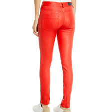 skinny ankle red leather pants for women
