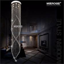 meerosee 6 lights long crystal chandelier light fixture spiral clear crystal re lamp gu10 for stairs villa staircase md2233 ceiling light long stair