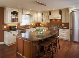 traditional kitchen lighting ideas. Traditional Kitchen Design With Dark Finished Wooden Island And Chic Recessed Lighting Ideas R