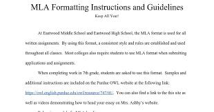 Mla Formatting Instructions Instructions On Mla Format