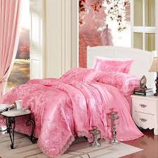 hot pink sparkly flower and paisley pattern elegant girls luxurious jacquard satin full queen size bedding sets