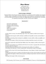 School Resume Awesome Professional After School Program Director Resume Templates To