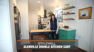 Home Styles Natural Designer Utility Cart Stylewell Glenville Black Double Kitchen Cart Sk17787cr2 Cbb