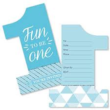 Invitations Card For Birthday Amazon Com 1st Birthday Boy Fun To Be One Shaped Fill In