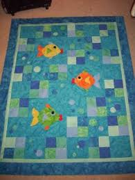 Homespun Fish quilt, 23 x 27