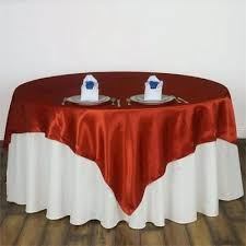 90 x tablecloth on round table burnt orange seamless satin square overlay crop center