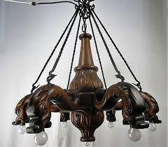 3 of 10 gothic hand carved wood chandelier 6 lights arms dragons wrought iron gorgeous