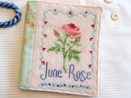 june rose cross stitch and vintage tea towels