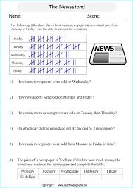 News Stand Tally Chart Printable Grade 3 Math Worksheet