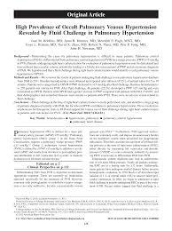 High Prevalence of Occult Pulmonary Venous Hypertension Revealed by Fluid  Challenge in Pulmonary Hypertension