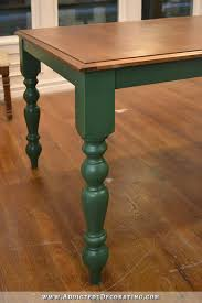 diy farmhouse dining table stained top with dark green a and legs 1