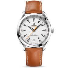 seamaster aqua terra 41mm silver black dial men 039 s leather strap watch