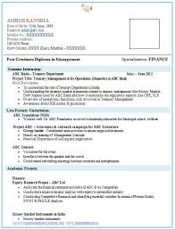 Resume Format For Mba Finance Best Resume Gallery
