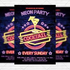 Neon Cocktail Party Premium Flyer Template Instagram Size Flyer