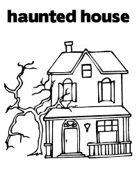 Haunted House Kids Halloween Coloring Pages Printable For