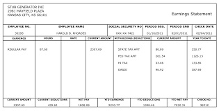 Paycheck Stub Layout Free Printable Blank Paycheck Stubs Heres An Example Of The