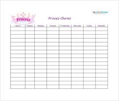 Weekly Chore Chart Template For Prince Vision Admirable Printable