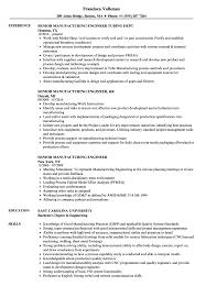 Manufacturing Engineer Resume Examples Senior Manufacturing Engineer Resume Samples Velvet Jobs