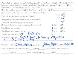 Comment Cards Customer Comment Cards Captain Electric