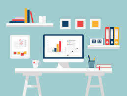 home office home ofice interior. Download Home Office. Flat Design Vector Illustration Of Modern Office Interior With Designer Desktop Ofice