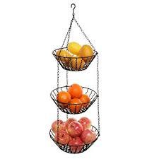 3 Tier Kitchen Ceiling Hanging Black Metal Fruit Basket Rack / Produce  Holder