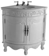 O 24 Inch Bathroom Vanity For Corner Traditional Antique White Color 24