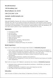 Resume Templates: Reliability Engineer