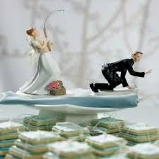 Gone Fishing Bride Groom Cake Toppers Caucasion Amazoncouk