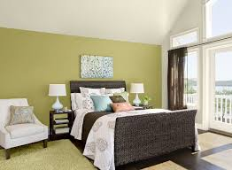 Bedroom:Interesting Bedroom Design With Dark Wicker Headboard And Yellow  Accent Wall Color Ideas How